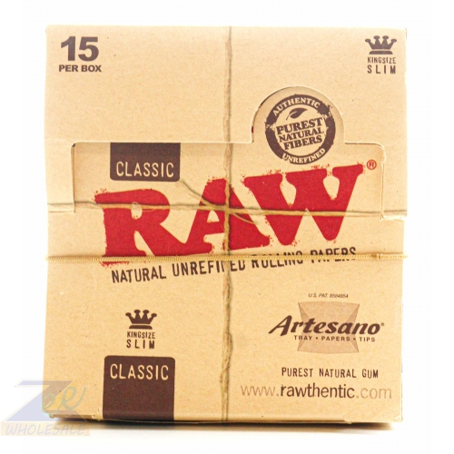 RAW CLASSIC ARTESANO KING SIZE SLIM ROLLING PAPER 15 PER BOX